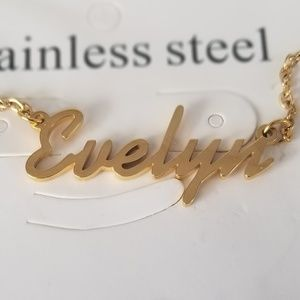 Jewelry - Evelyn Name Nameplate Gold Necklace B32